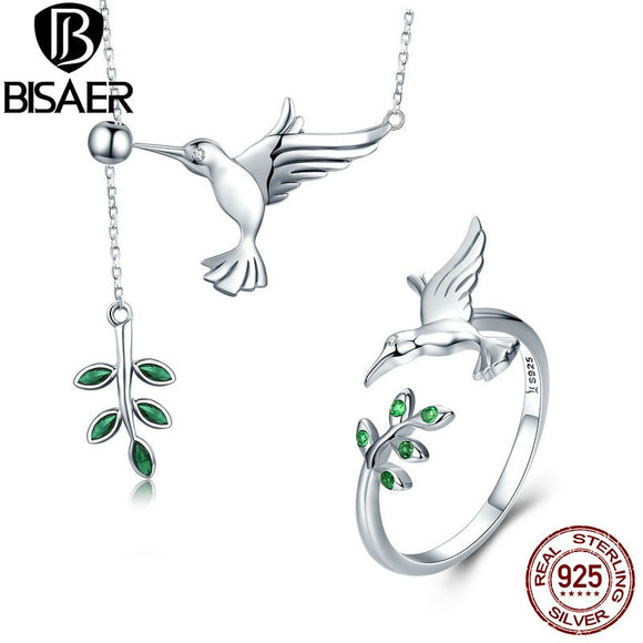 BISAER Jewelry Set 925 Sterling Silver Bird Hummingbirds Greeting Collar Anel Jewelry Sets For Women Fashion Earrings Jewelry - The Rogue's Clothes