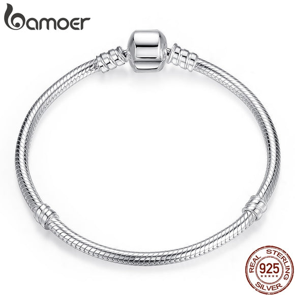 BAMOER Christmas SALE Authentic 100% 925 Sterling Silver Snake Chain Bangle & Bracelet Luxury Jewelry 17-20CM PAS902 - The Rogue's Clothes