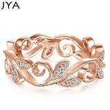 JYA Original Cirrus Leaves Rings for Women Rose Golden Silver Plated Zircon Fashion Party Ring Temperament Elegance  Accessories
