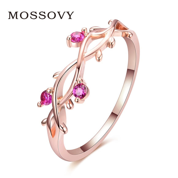 Mossovy Floral Plated Rose Gold Engagement Ring for Female Crystal Zircon Leaf Adjustable Ladies Wedding Rings for Women Jewelry