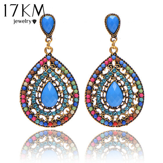 17KM Christmas gifts Female fashion Wedding party Charm jewelry  Vintage Bohemian beads heart pendant drop earrings women - The Rogue's Clothes