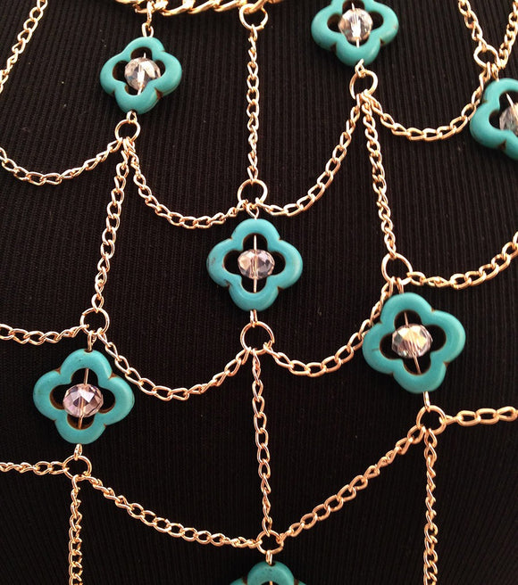 Gold and Turquoise Body Chain