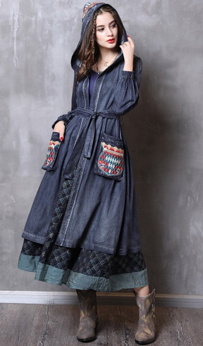 M L XL vintage cotton new autumn winter 2018 women long hooded trench coat long sleeve jeans denim blue flower embroidery casual with belt lady  #82113
