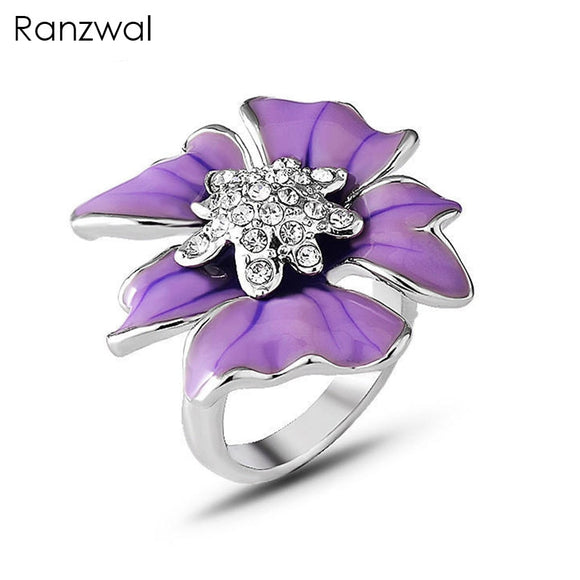 Ranzwal Elegant Purple Enamel Flower Rings for Women Rhinestones Finger Ring Female Jewelry US SIZE 6~9 ARI072