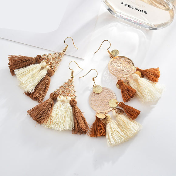 Women Geometric Elements Tassel Earrings Rope Spike Hollow Bohemian Earrings
