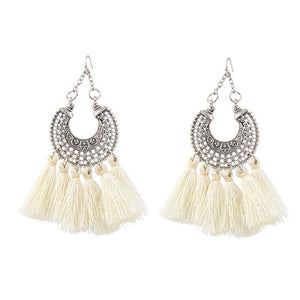 Women Bohemian Alloy Multi-colored Tassel Earrings Simple Temperament Earrings