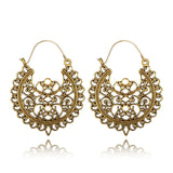 Crazy Feng Vintage Ethnic Gypsy Earrings For women Ladies Metal Hollow Flower Dangle Drop Earrings Boho Brincos Jewelry 2018