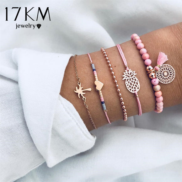 17KM 5 Pcs/Set Bohemian Tassel Beads Charm Bracelets Set For Women Girls Fashion Pineapple Heart Geometric Bracelet Jewelry New - The Rogue's Clothes