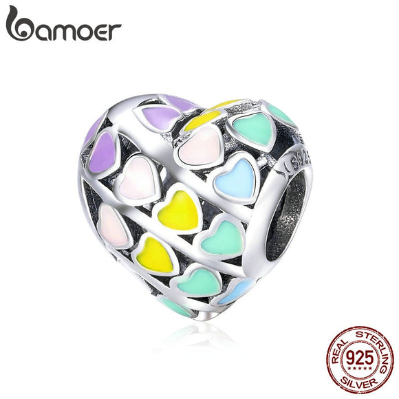 BAMOER Romantic 925 Sterling Silver Rainbow Heart Color Enamel Charms Beads fit Original Bracelets DIY Jewelry Making SCC902 - The Rogue's Clothes