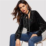 SHEIN Black Stand Collar Button Up Tie Neck Velvet Long Sleeve Shirt Bohemian Modern Lady 2019 Spring Women Streetwear Blouse