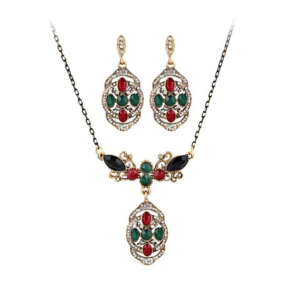 Women Classical Bohemian Color Shield Pendant Earrings Necklace Jewelry Set