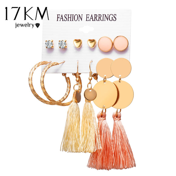2019 Bohemian White Red Pink Yellow Long Tassel Earrings Set For Women Girl  Vintage Drop Earring Brincos Female Jewelry 6 Pair - The Rogue's Clothes