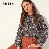 SHEIN Bohemian Multicolor Tie Neck Ruffle Trim Floral Plants Print Top Stand Collar Blouse Women Autumn Ladies Tops and Blouses