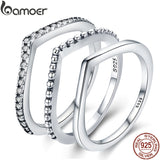 BAMOER 100% 925 Sterling Silver Water Droplet Clear CZ Finger Rings for Women Wedding Engagement Jewelry Girlfriend Gift PA7649 - The Rogue's Clothes