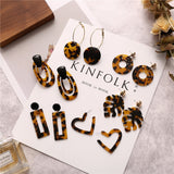 17KM Bohemian Acrylic Leopard Print Dangle Earrings For Women Multicolored Geometric Square Long Drop Earring Fashion Jewelry - The Rogue's Clothes