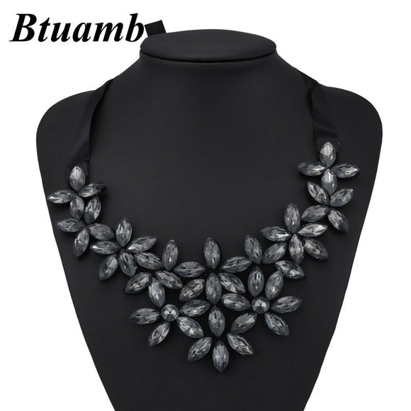 Btuamb Collar Statement Necklaces Jewelry New Arrival Shining Rhinestone Water Drop Flower Bib Bar Necklaces for Women Collier