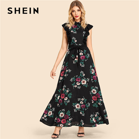 4587440f4f SHEIN Multicolor Vacation Ruffle Trim Self Belted Flower Print Collar Dress  Beach Fit and Flare High