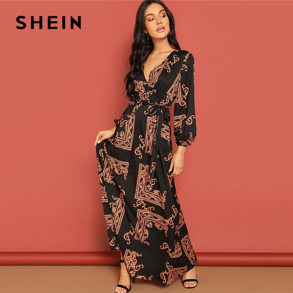 SHEIN Multicolor Scarf Print Belted Maxi Wrap Dress V Neck Long Sleeve Fit and Flare  A Line Dress 2019 Women Spring Dresses