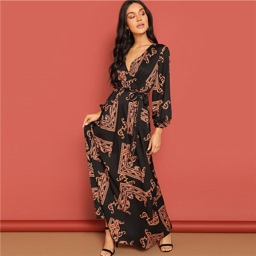 4aa7584e69ac ... SHEIN Multicolor Scarf Print Belted Maxi Wrap Dress V Neck Long Sleeve  Fit and Flare A