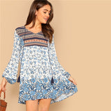 SHEIN Vacation Multicolor Floral Print Tassel V Neck Short Dress Women Spring Dresses For Beach Puff Sleeve Dress