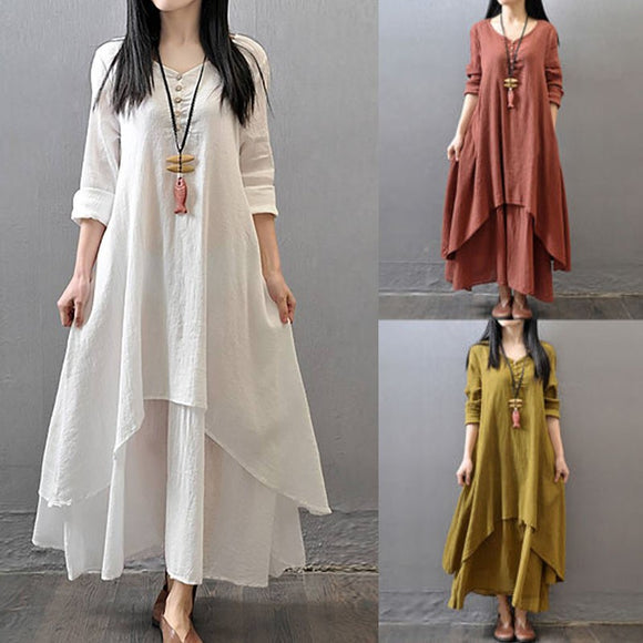 Women Boho Cotton Linen Tunic Long Sleeve Maxi Dress Gypsy Casual Shirt Kaftan