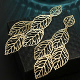 Fashion Hollow Retro Vintage Bohemian Openwork Leaf Ear Stud Earrings