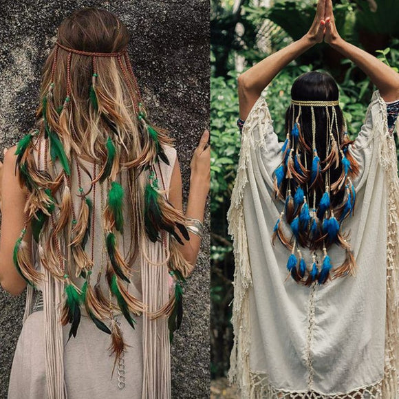 Feather Rope Crown AWAYTR 2019 Boho White Elastic Gypsy Festival Head Band for Women Fashion Indian Hair Accessories