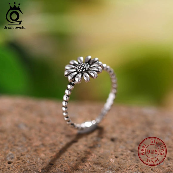 ORSA JEWELS 100% Real Original 925 Sterling Silver Dazzling Daisy Flower Ring Romantic Fashion Elegant Wedding Jewelry PSR52