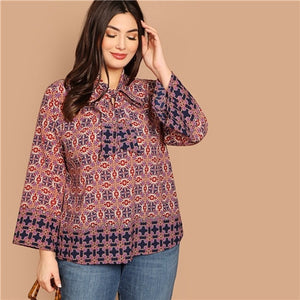 SHEIN Plus Size Geo Print Bow Tie Neck Flounce Sleeve Women Boho Blouses 2019 Spring Multicolor Bohemian Casual Tops Clothing