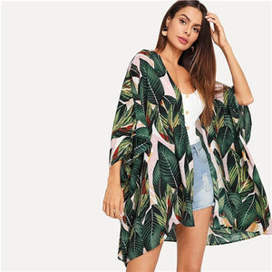 SHEIN Multicolor Tropical Jungle Leaf Print Batwing Sleeve Kimono 2019 Women Summer Sleeve Vacation Longline Beach Blouses
