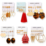New Geometric Dangle Earrings Set For Women Brincos Bohemian Resin Oversize Earring Statement Female Fashion Jewelry Wholesale