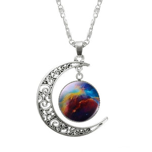 Galaxy Planet Star Glass Cabochon Pendant Necklace Crescent Moon Jewelry Silver Plated Chain Necklace Women Friend Best Gifts