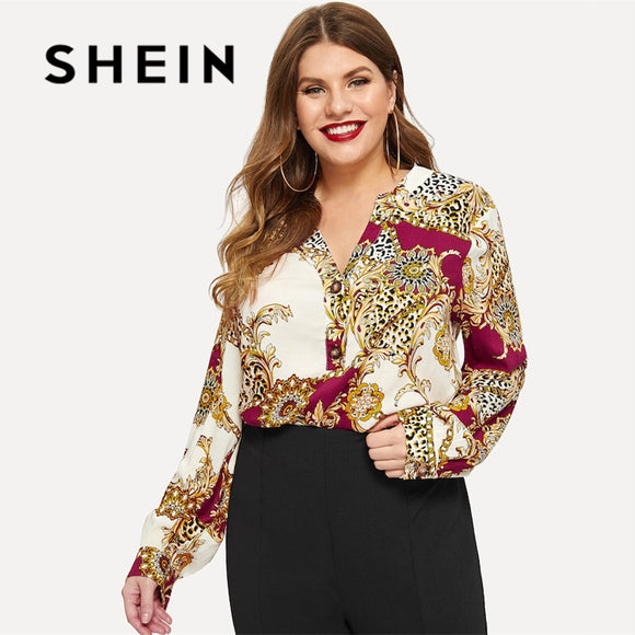 SHEIN Multicolor Plus Chain Print Buttoned Front Dip Hem V neck Asymmetrical Top Spring Summer Long Sleeve Bohemian Blouses