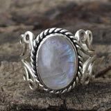 Vintage Tibetan Silver Big Natural Stone Crystal Rings for Women Boho Indian Moonstone Ring Womens Fine Wedding Jewelry Gifts