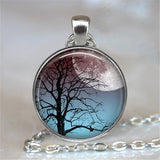 Life Tree Glass Cabochon Statement Necklace & Pendant Jewelry Vintage Silver Chain Choker Necklace For Women