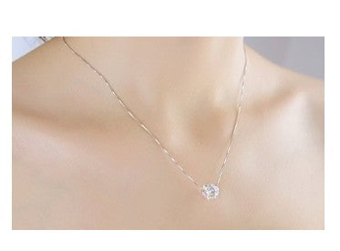 silver necklace  crystal pendant necklace Jewelry for women