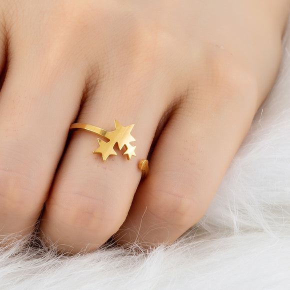 2019 New Stainless Steel Rings for Women Classic Star Golden Silver Color Ring Fashion Party Wedding Jewellery Gifts Resizable - The Rogue's Clothes