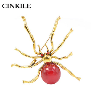 CINKILE Red Resin Bead Large Spider Brooches for Women Fashion Halloween Design Pins Insect Jewelry Autumn Jeans Badges Gift