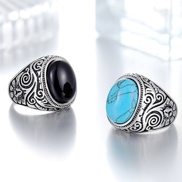 New Personalized Jewelry Vintage Antique Silver Turquoises Ring for Men Tibet Women Finger Ring