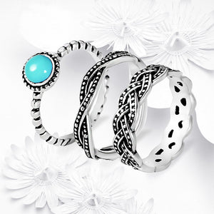 Bohemia Blue Stone Ring Set Vintage Jewelry Infinity Rings for Women Antique Silver Ring Bague Femme Masculino Anillos Z3H642 - The Rogue's Clothes