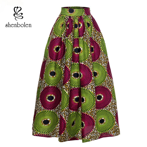 Shenbolen Africa clothing for Women Skirt Traditional Clothing Ankara Print Dashiki Long Skirts