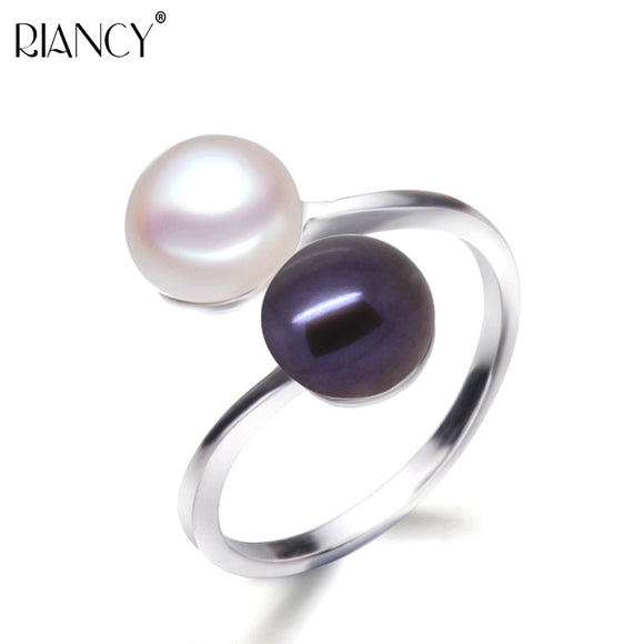 100% Natural Freshwater adjustable Double beads Ring Creative Ring for Women 925 Silver Pearl jewelry Decorative Gifts