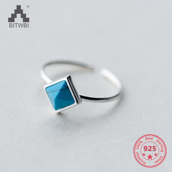 Korea Hot Style Silver Delicate Fashion Square Turquoise Open Ring Jewelry for Women