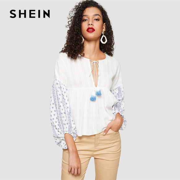 f1a2bf4abc SHEIN White Fringe Tie Neck Tribal Peplum Top Women 2019 Spring Clothing  Round Neck Long Sleeve