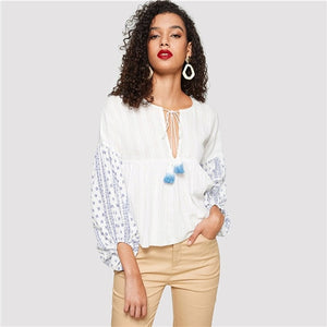 SHEIN White Fringe Tie Neck Tribal Peplum Top Women 2019 Spring Clothing Round Neck Long Sleeve Bohemian Streetwear Blouses