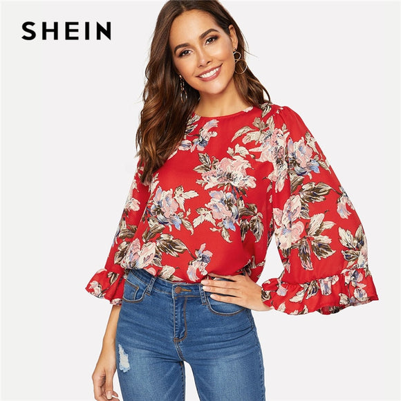 SHEIN Bohemian Red Flounce Flare Sleeve Floral Print Keyhole Back Blouse Women Casual Workwear Round Neck Spring Top Blouses