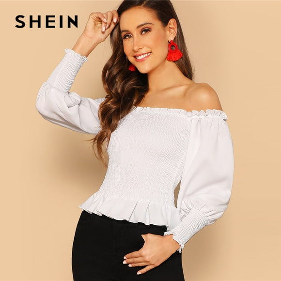 SHEIN White Off Shoulder Frilled Shirred Top Vacation Plain Bishop Sleeve Ruffle Women 2019 Summer Slim Fit Beach Blouses
