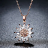 Brand Big Sunflower Charm Necklaces Silver/Gold Color Stainless Steel Rhinestone Pendant & Chain Men/Women Jewelry 2017 P1034