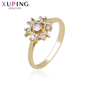 Xuping Ring Flower Popular Design Charm Style for Women Light Yellow Gold Color Plated Rings Christmas Jewelry Gift S64,9-14219