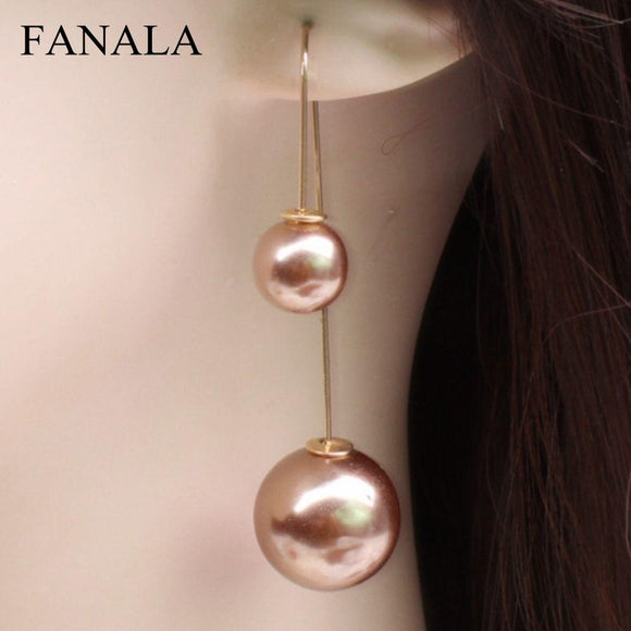 Hot Korean Double-Sided Long Pearl Earrings Fashion New Earrings Wedding U-Shaped Earrings Wholesale Jewelry